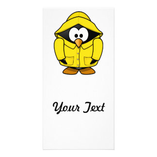 Penguin in a Raincoat Cute Cartoon Photo Card