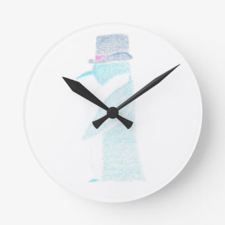 Penguin In A Top Hat Round Clock