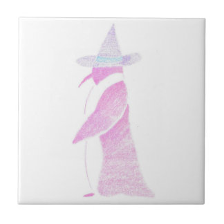 Penguin In A Witch's Hat Ceramic Tile