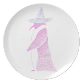 Penguin In A Witch's Hat Plate