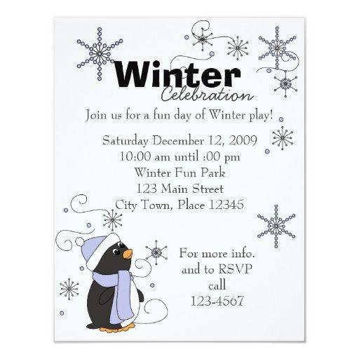 "Penguin in Awe 4.25"" X 5.5"" Invitation Card"