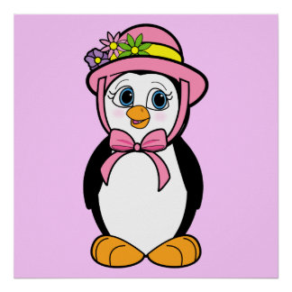 Penguin in Easter Bonnet Poster