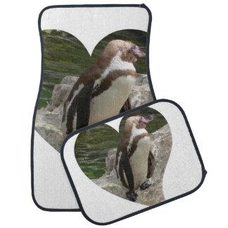 penguin in heart shape car mat