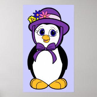Penguin in her Easter Bonnet Poster
