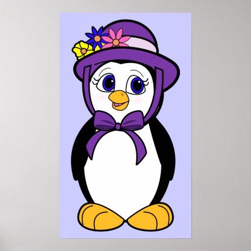 Penguin in her Easter Bonnet Print