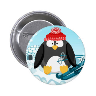Penguin in January from the circle series 6 Cm Round Badge