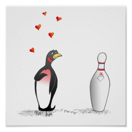 Penguin in Love with Bowling Pin Print