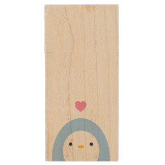 Penguin in Love Wooden USB Drive Wood USB 2.0 Flash Drive
