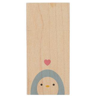 Penguin in Love Wooden USB Drive Wood USB 2.0 Flash Drive