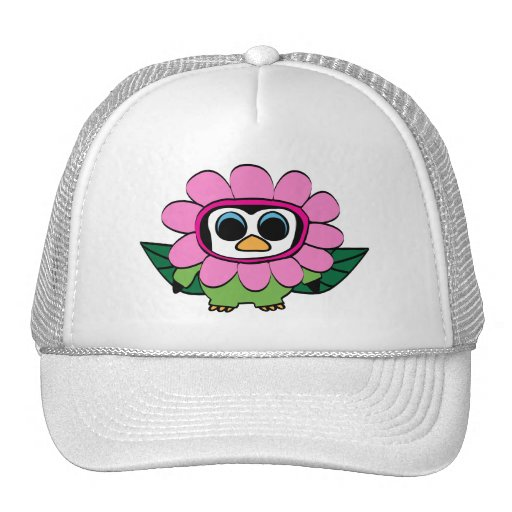 Penguin in Pink Flower Costume Hats