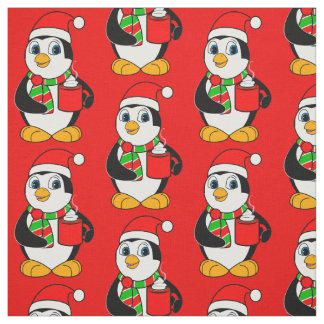 Penguin in Santa Hat Drinking Cocoa Fabric
