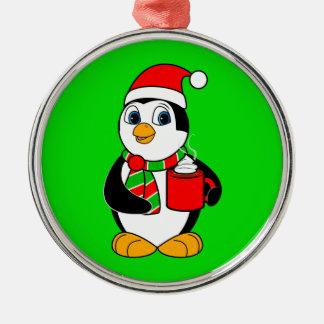 Penguin in Santa Hat Drinking Cocoa Metal Ornament