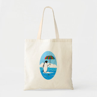 Penguin in the Snow on Budget Tote Bag