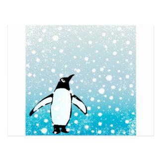 Penguin In The Snow Postcard