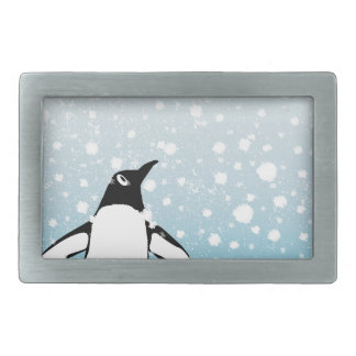 Penguin In The Snow Rectangular Belt Buckles