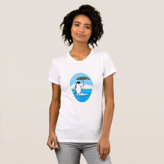 Penguin in the Snow Vignette on Women's T-Shirt