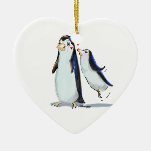PeNgUiN KiSs Double-Sided Heart Ceramic Christmas Ornament