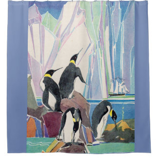 penguin land shower curtain