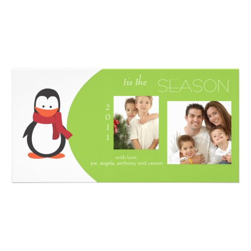 Penguin Lime Holiday Photo Card