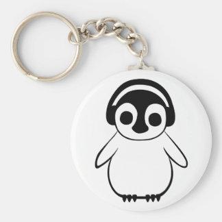 Penguin Listens To Music Badge Key Ring