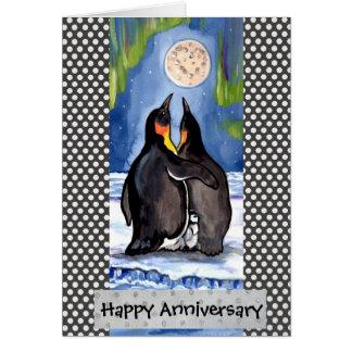 Penguin Love Aurora Anniversary Card Personalize