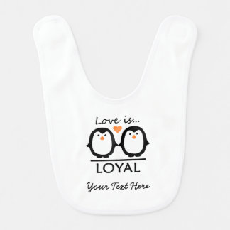 Penguin Love baby bib