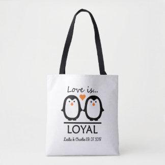 Penguin Love custom names & date bags Tote Bag