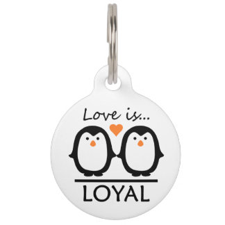 Penguin Love custom pet tag