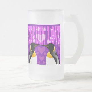 Penguin Love! Frosted Glass Beer Mug