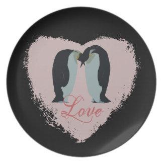 Penguin Love Heart Plate
