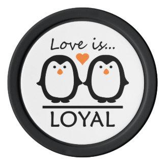 Penguin Love wedding date chips Poker Chip Set