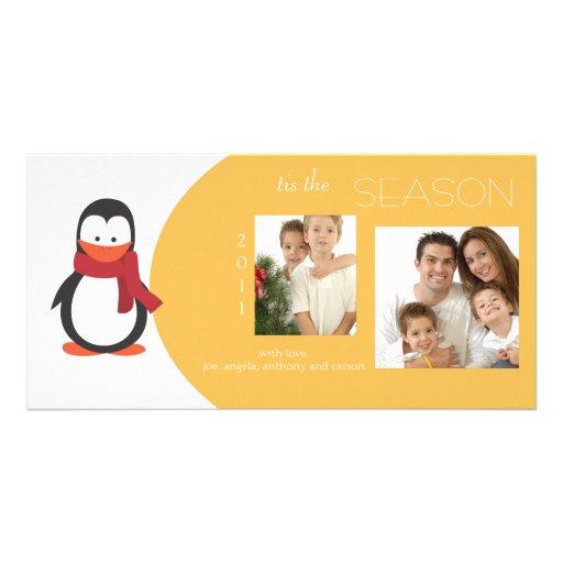 Penguin Marigold Holiday Photo Card