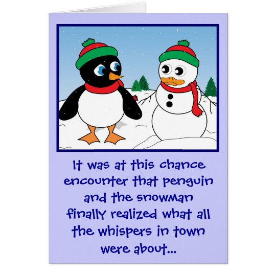 'Penguin n Snowman' Holiday Card