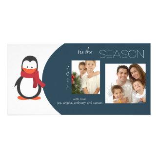 Penguin Navy Holiday Photo Card
