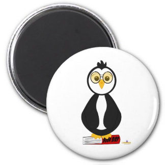 Penguin Nerd With Glasses On Book Refrigerator Magnet