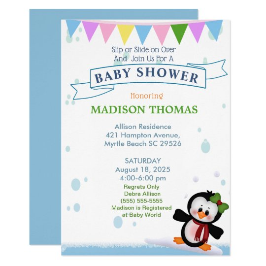 Penguin On Ice Baby Shower Invitation