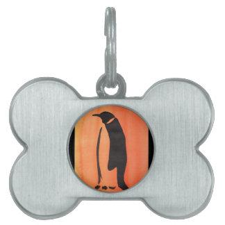 Penguin On Orange Pet ID Tag
