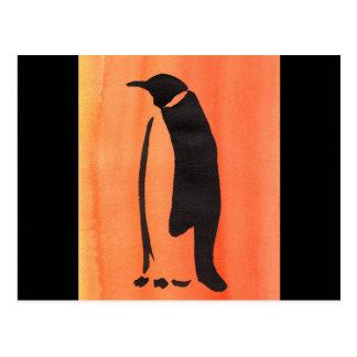 Penguin On Orange Postcard