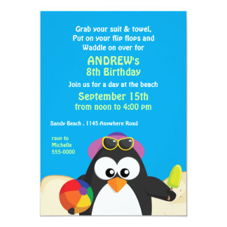 Penguin on the Beach Birthday 13 Cm X 18 Cm Invitation Card