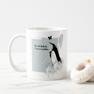 Penguin on Vacation Funny Chic Illustration Coffee Mug