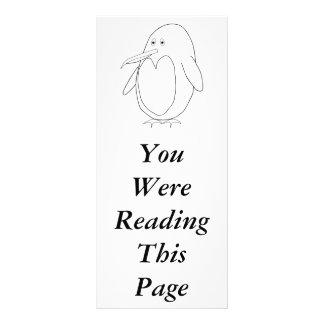 Penguin Outline Bookmark Template Custom Rack Card