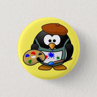 penguin painter swipes in 3 cm round badge