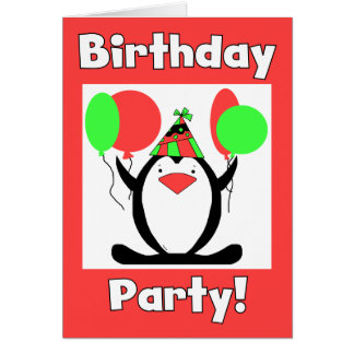 Penguin Party Cards and Invitations