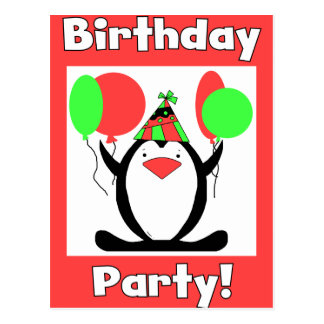 Penguin Party Cards and Invitations Postcard