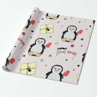 Penguin party props   yellow kid birthday wrapping paper