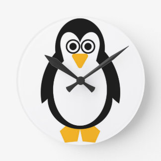 Penguin Party Round Clock