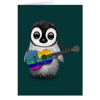 Penguin Playing American Rainbow Flag Guitar Teal Greeting Card