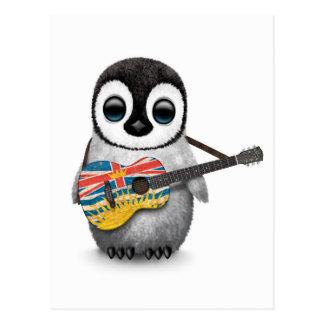 Penguin Playing British Columbian Flag Guitar Postcard