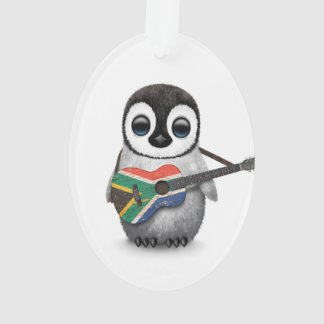 Penguin Playing South African Flag Guitar Ornament
