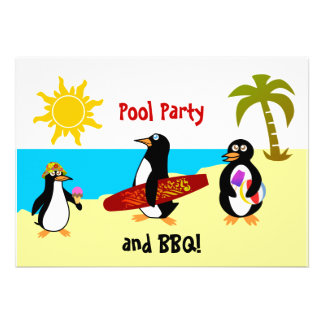 Penguin Pool Party Beach Party Invitation